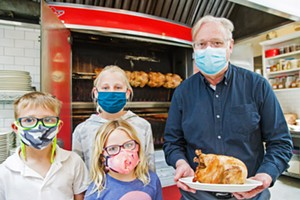 Tasty To-Go SLO Provisions owner Steve Bland and his grandkids show off rotisserie chicken—a lemon and herb-brined Mary's free range chicken slow cooked in the French rotisserie—one of many delicious items on the Best Takeout Menu around. - PHOTO BY JAYSON MELLOM