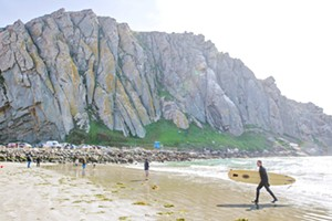 SAND AND SURF Although Morro Bay isn't always the sunniest spot on the coast, it is the Best Surf Spot in the county, according to New Times readers. - PHOTO BY JAYSON MELLOM