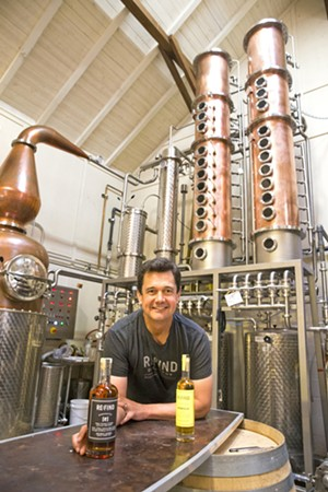 STILL OF DREAMS Re:Find Distillery owner Alex Villicana built one of the first (and best) distilleries in SLO County with his wife, Monica. - PHOTO BY JAYSON MELLOM