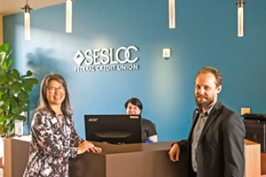 YOUR BANK SESLOC SLO Branch Manager Michael Foote (RiGhT) and Training Manager Carolyn White (LEFT) are just two of the smiling faces you'll see at any of the four branches in SLO County. Aren't they the best? - PHOTO BY JAYSON MELLOM