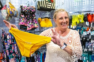 BOTTOMS UP SLO Swim owner Shelley Filip knows bottoms, tops, and tankinis inside and out. Maybe that's why her shop's a longtime Best Place to Get Swimwear award winner. - PHOTO BY JAYSON MELLOM
