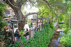 PATIO PLEASURE Although outdoor dining options in SLO are increasing with the COVID-19 pandemic, Novo Restaurant & Lounge's patio puts diners right on the creek in the heart of downtown. It's the best. - PHOTO BY JAYSON MELLOM