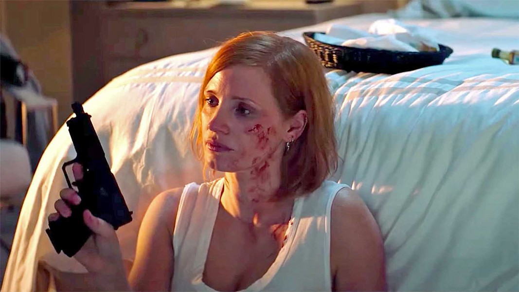 "THE SAD ASSASSIN Ava (Jessica Chastain) gets ""retired"" from her assassin job when she begins questioning her targets about what they did to get murdered, in the middling action flick Ava, available through Redbox. - PHOTO COURTESY OF VOLTAGE PICTURES"