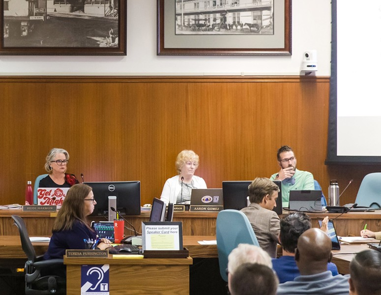 SPEAKING OUT SLO City Councilmember Aaron Gomez (far right) criticized a city tourism marketing plan on Oct. 20, saying it conflicts with COVID-19 orders and SLO's environmental goals. - FILE PHOTO BY JAYSON MELLOM