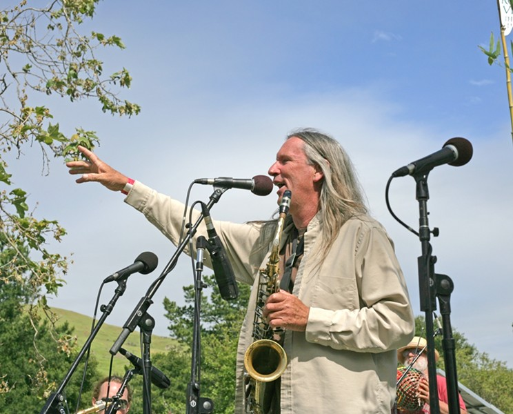 SHOUT OUT :  Andrew Wise of Zongo! Allstars got the crowd pumped up at Earth Day in El Chorro Regional Park. - PHOTO BY GLEN STARKEY