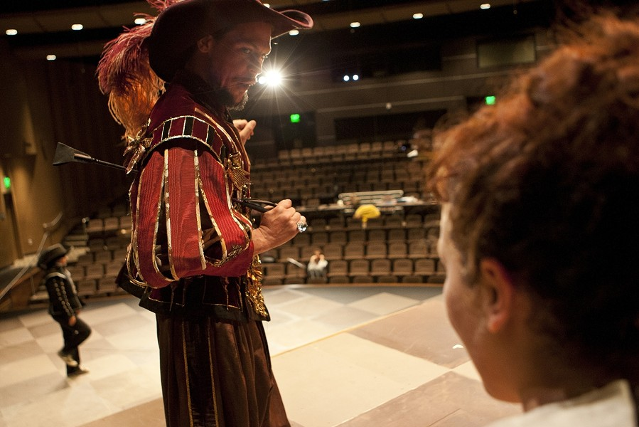 A ROYAL PAIN :  Nik Johnson is a flamboyantly fussy King Louis III in The Three Musketeers, staged at Cuesta College. - PHOTO BY STEVE E. MILLER