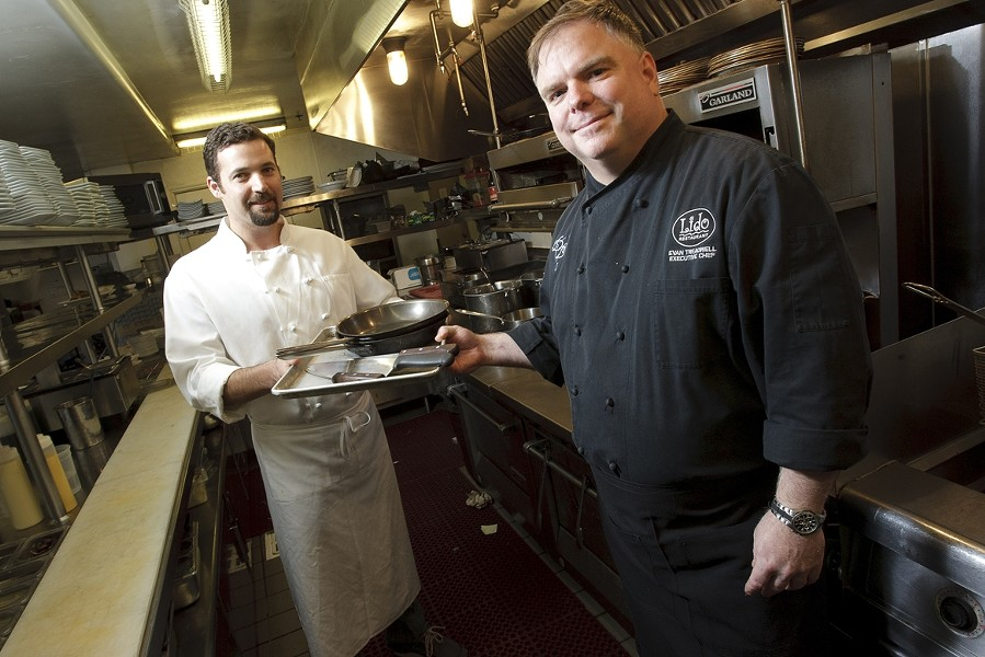CHANGE-UP :  Brian Collins (left) is the new chef at Lido, taking the reins from Evan Treadwell (right). - PHOTO BY STEVE E. MILLER