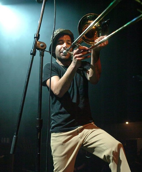 THEY'RE MAD I TELL YOU! MAAAAAD!!!! :  Trombonist Ed Hernandez (left) and guitarist Sascha Lazor are two members of the awesome ska-punk act The Mad Caddies, playing June 13 at Downtown Brew for only $6! - PHOTO COURTESY OF THE MAD CADDIES