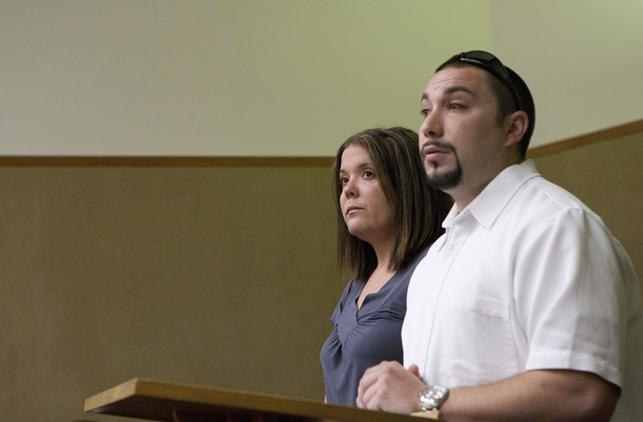 DRUG DEALERS? :  Christopher Costley and Amber Carter stand before Superior Court Judge Barry LaBarbera moments before Costley's misdemeanor marijuana possession charge was dismissed. Carter faces a misdemeanor charge of marijuana possession and a felony charge of possessing four Vicodin pills for sale. - PHOTO BY STEVE E. MILLER