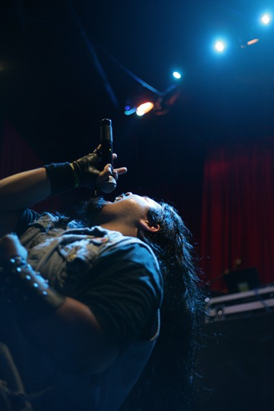 """WILD CARD!:  Andres Arevalo, who bypassed the first round and was drawn as a second round wild card, performs Mötley Crüe's """"Girls, Girls, Girls."""" - PHOTO BY ANNA STARKEY"""