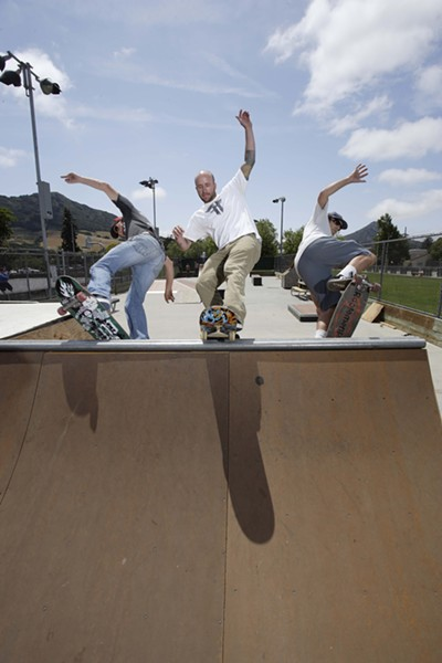 NOT OVER THE HILL YET :  Jonny Miller, Jono Hicks, and Scott Kam (left to right) are pushing for a new skate park in San Luis Obispo; one of the biggest challenges has been in organizing the skaters who will use it. - PHOTOS BY STEVE E. MILLER
