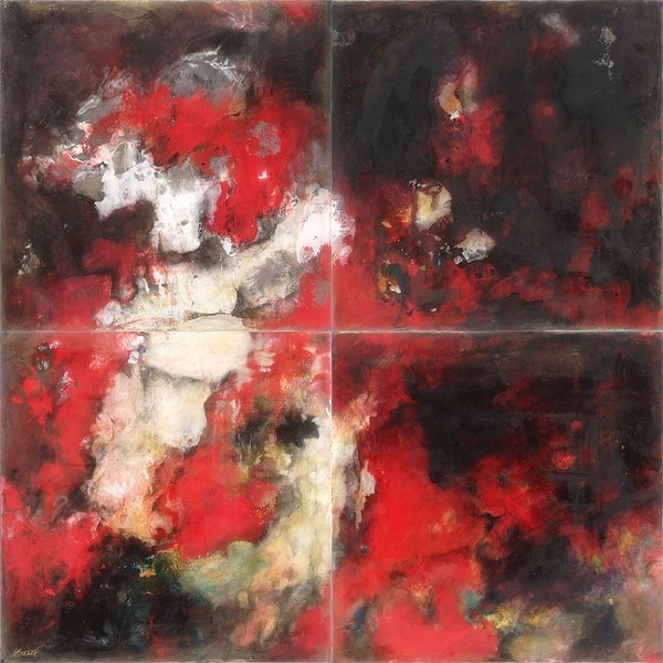 RAISE THE ALARM:  After a long bout of not painting, Flo Bartell was on fire to create and finish '4 Alarm,' an encaustic abstract piece comprised of four canvasses. - IMAGE COURTESEY OF SLOMA