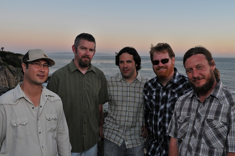 DOWN FROM THE MOUNTAIN :  Cuesta Ridge (left to right: Toan Chau, Brent Vander Weide, Dan Keller, Matt Reeder, and Patrick Pearson) plays an album release party for its first studio recording, Hard Luck Tough Times, on May 27 at The Red Barn. - PHOTO BY JEFF BOWEN