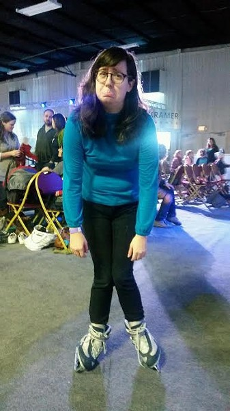 BLADES OF SHAME:  This is photographic evidence of the one second I was able to stand up on my own with skates on. Nailed it! - PHOTO BY CAT SENET