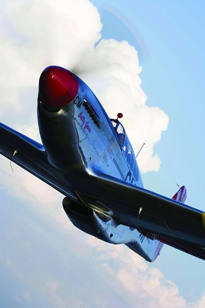 "MUSTANG! :  Betty Jane is the only Full Dual Control P-51C still in operation, and a for $2,200 for a half hour, you can take a flight and get some ""stick time."" An hour costs $3,200. - PHOTOS COURTESY OF THE COLLINGS FOUNDATION"