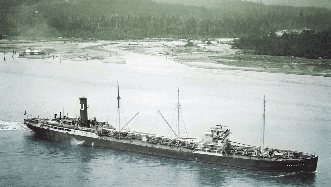 IN HAPPIER DAYS:  The Montebello is seen motoring in Vancouver, where it was headed on its final voyage. - PHOTO COURTESY OF THE VANCOUVER MARITIME MUSEUM