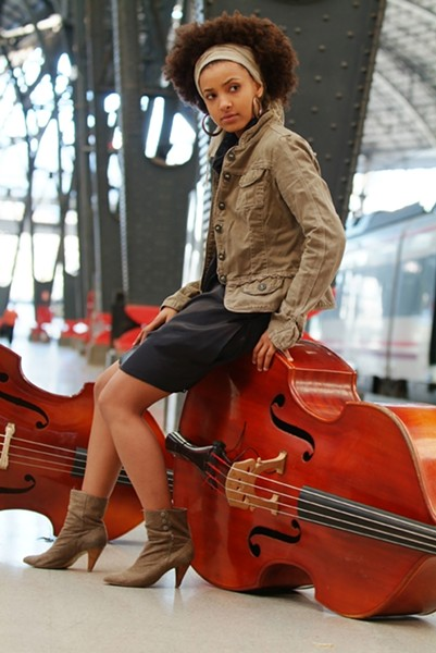 ACE OF BASS :  The gorgeous and talented composer, bassist, and vocalist Esperanza Spalding plays Cal Poly's Spanos Theatre on Oct. 8, the first of three Cal Poly Arts-sponsored jazz concerts this weekend. - PHOTO BY JOHANN SAUTY