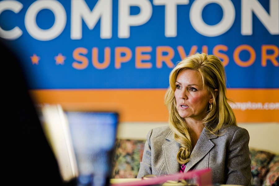 """LYNN COMPTON :  With the longest tenure and most money in the race, Nipomo agricultural businesswoman Lynn Compton said she wants to do whatever it takes to win the District 4 """"swing seat."""" - PHOTO BY HENRY BRUINGTON"""