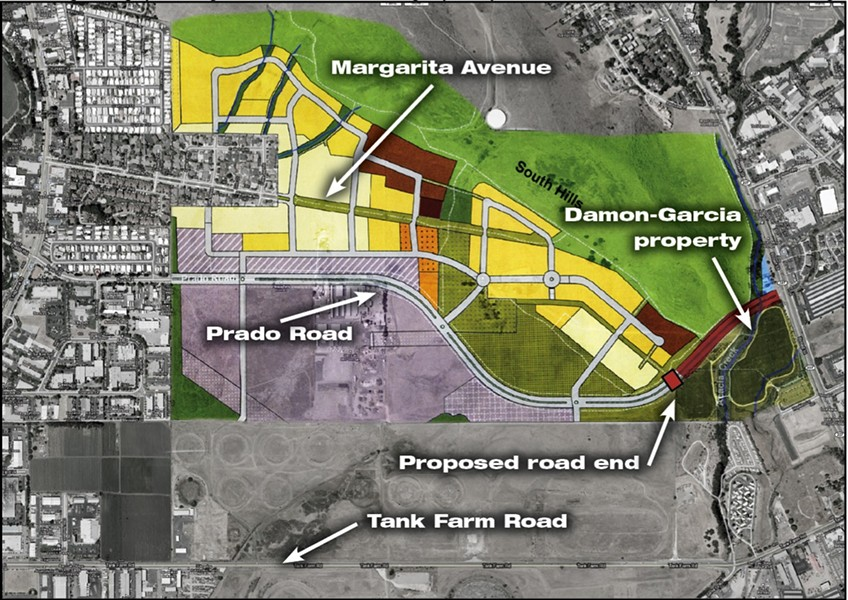 ROAD TRIP:  A rendering of the proposed Margarita plan development and the Prado Road extension. If approved, a referendum would stop the western section of the thoroughfare from being built, making Prado Road dead end just before the Damon-Garcia sports fields.  (colored map from City of San Luis Obispo) - ©2010 GOOGLE - IMAGERY ©2010 DIGITALGLOBE, USDA FARM SERVICE AGENCY, GEOEYE, DATA CSUMB SFML, CA OPC, MAP DATA ©2010 GOOGLE