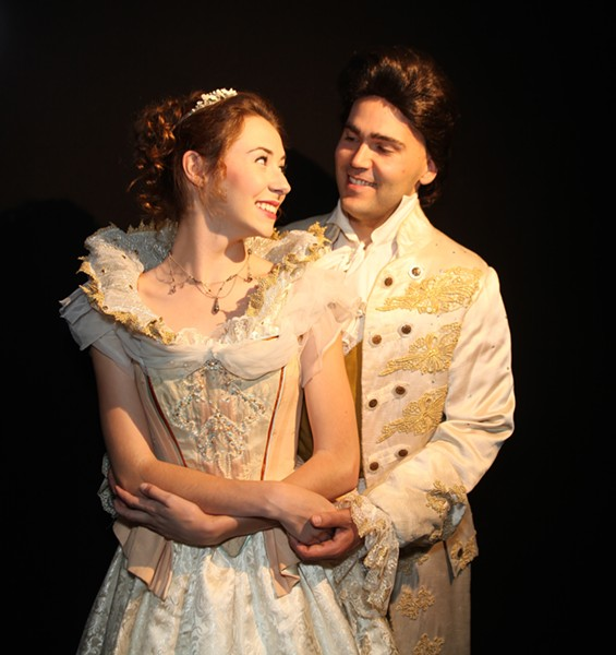 HAPPILY EVER AFTER?:  Cinderella (Madison Shaheen) and her prince (George Gorrindo) will travel deep into forest foliage during Chameleon Productions' presentation of 'Into The Woods' at the Clark Center July 31 through Aug. 15. - PHOTO COURTESY OF CHAMELEON PRODUCTIONS