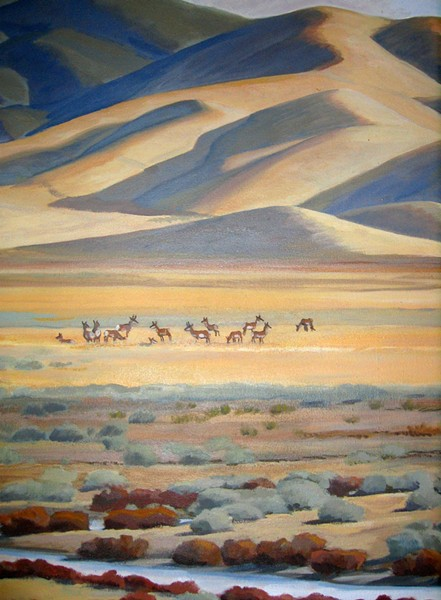 NOW YOU SEE THEM :  A section of a mural by artist John Iwerks in the Carrizo Plain National Monument visitor center depicts a herd of pronghorn antelope. - PHOTO BY KATHY JOHNSTON