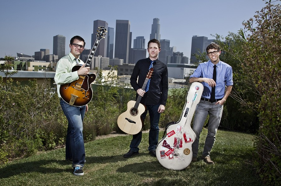 YOUNG LIONS:  The New West Guitar Group (pictured) will be joined by jazz vocalist Sara Gazarek at D'Anbino Cellars on Oct. 16. - PHOTO COURTESY OF THE NEW WEST GUITAR GROUP
