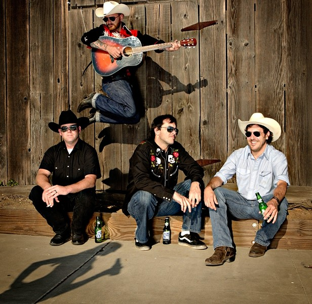 LIKE A COCK FIGHT BUT WITH FOUR COCKS :  You'll get more country that you bargained for, pard, when you saddle up and ride to Downtown Brew to see Cash'd Out and Red Eye Junction (pictured) deliver an evening of rockabilly, country, honky-tonk and cow punk on July 3 at Downtown Brew. - PHOTO BY STEVE E. MILLER
