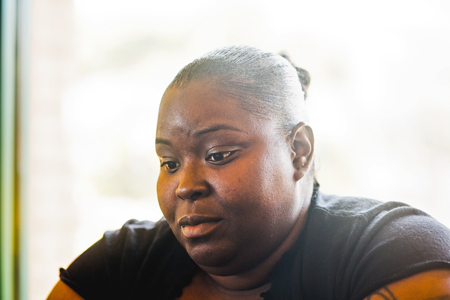 RELUCTANT TO LEAVE:  With two simultaneous lawsuits against her former employer, and no prospects for local work, ex-Chipotle employee Janeka Samuels plans to move back to Pasadena. - PHOTO BY HENRY BRUINGTON
