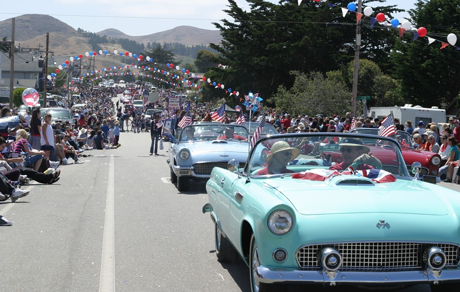 WHAT YEAR IS IT? :  The Cayucos 4th of July Parade is like stepping back in time. - PHOTO BY GLEN STARKEY