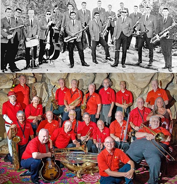 THEN AND NOW :  The Cal Poly Collegians Alumni Big Band, with members in 1961 and again last year, performs its annual reunion concert on Aug. 28 at Madonna Inn. - PHOTO COURTESY OF THE CAL POLY COLLEGIANS ALUMNI BIG BAND