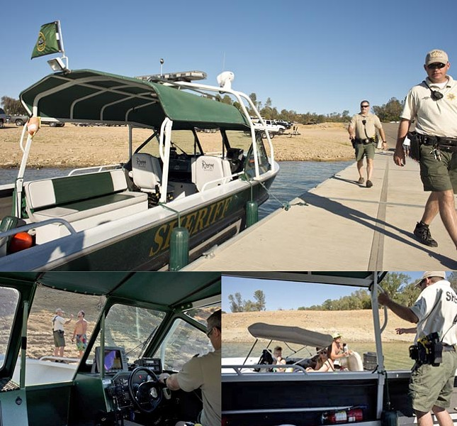 WATER PATROL :  (clockwise from top) Deputies Todd Steeb (left) and Mike Norris return to their boat after checking in at their Nacimiento headquarters; an operator confirms to Deputy Norris that his fire extinguisher is properly charged; and fortunately Deputy Norris determines that this boat operator was not under the influence of alcohol and was safely operating his craft. - PHOTO BY STEVE E. MILLER