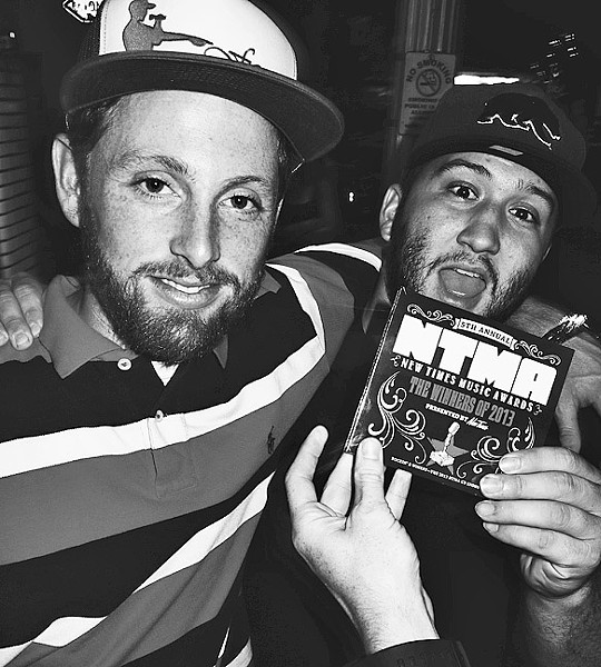 HIP-HOP HEROES:  Local hip-hop stars James Kaye (left) and Wynn release new albums on April 9, at Tap It Brewing Co. - PHOTO COURTESY OF JAMES KAYE AND WYNN