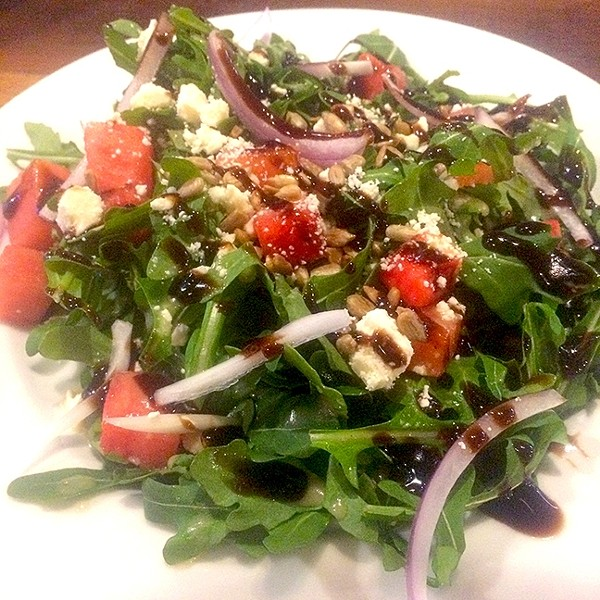 ROUND TWO:  For my second course, I opted for the Milestone salad, with an arugula base heaped high with watermelon and feta cheese. - PHOTO BY RYAH COOLEY