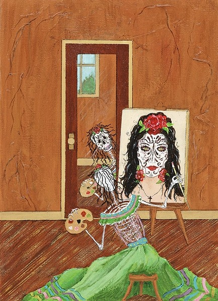 "SO VAIN:  Anita Moore-Wells' ""muertos"" paintings usually involve dancing and music, but in Vanity a skeleton paints a self portrait that doesn't mimic reality. - IMAGE COURTESY OF ANITA MOORE-WELLS"