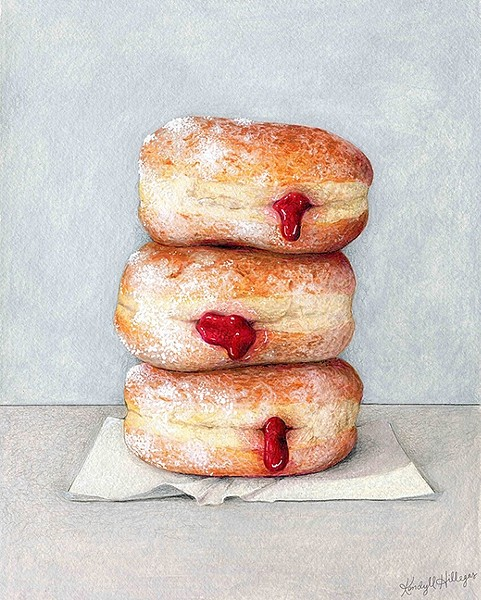 OOZING WITH SWEETNESS:  Kendyll Hillegas brings a stack of luscious doughnuts to life in Jelly+Donuts. - IMAGE COURTESY OF KENDYLL HILLEGAS