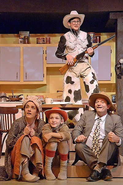 WISH LIST:  Ralphie (Phineas Peters) dreams of getting a Red Ryder BB gun for Christmas and saving his mom (Erin Parsons), little brother Randy (Coen Carlberg), and dad (Mike Mesker) from a band of outlaws in 'A Christmas Story.' - PHOTO COURTESEY OF JAMIE FOSTER PHOTOGRAPHY