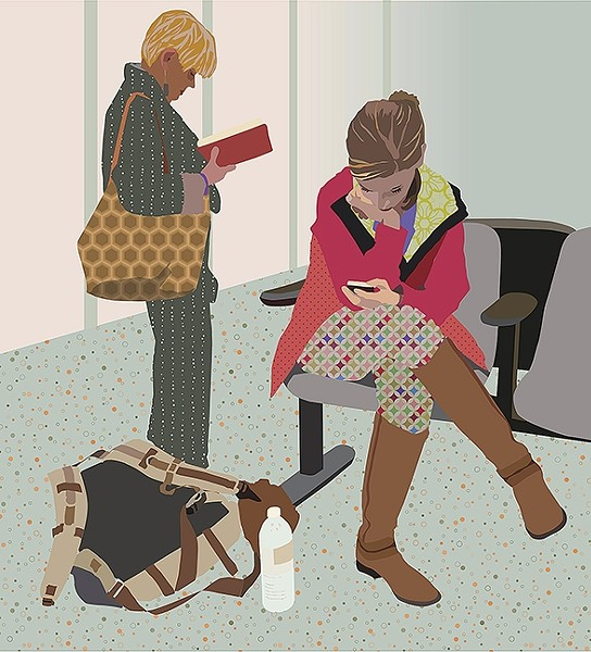 WAITING:  In artist Julie Frankel's piece, 'Airport Sunset,' one woman reads and another checks her phone while waiting at the LAX Airport in Los Angeles. - IMAGES BY JULIE FRANKEL