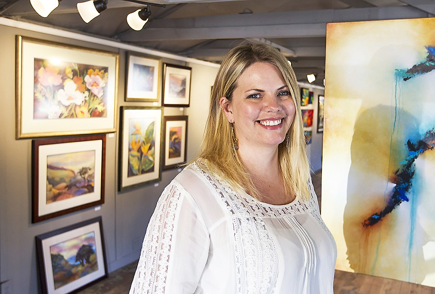 THE NEW ART SPOT IN TOWN Interior designer and Nipomo resident Shelli Palma (pictured) opened Gala de Arte, the town's only art gallery, on June 1. - PHOTO BY JAYSON MELLOM