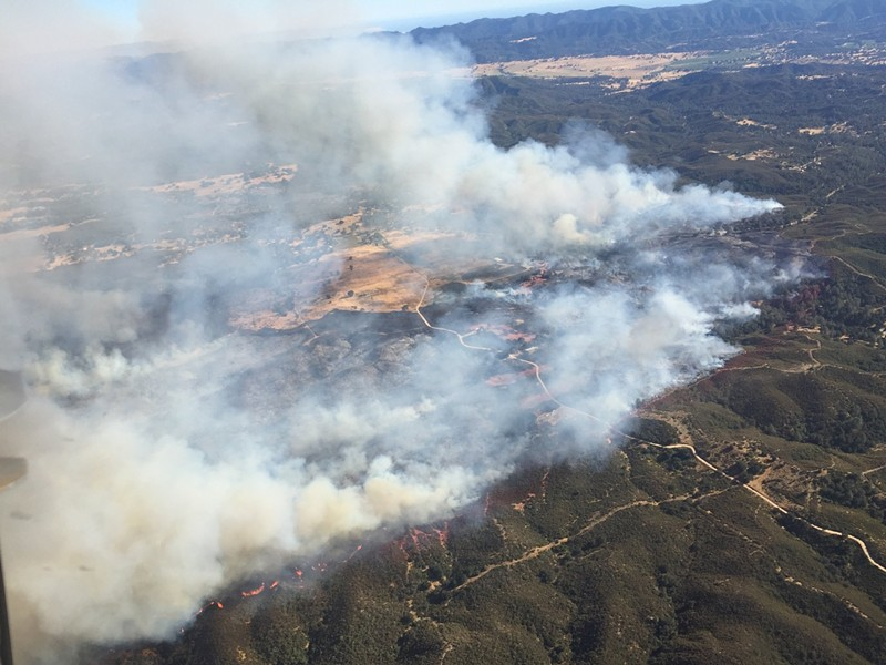 ABLAZE: The Parkhill Fire southeast of Santa Margarita is 95 percent contained as of June 30. - PHOTO COURTESY OF CAL FIRE SLO