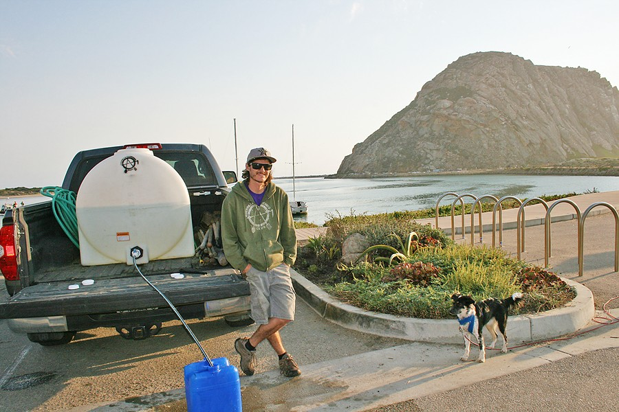 SKATEBOARDING IS NOT A CRIME The Morro Bay Guerrilla Gardening Club was founded in 2010 as a way to show Morro Bay that local skateboarders were not, indeed, criminals. Andrew Ecker is one such original member who continues to do his part to keep Morro Bay green. - PHOTO BY HAYLEY THOMAS CAIN