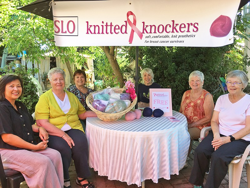 GIVING Local women come together once a month to knit a pair of knockers that bring comfort and a little happiness to breast cancer survivors. - PHOTO BY KAREN GARCIA