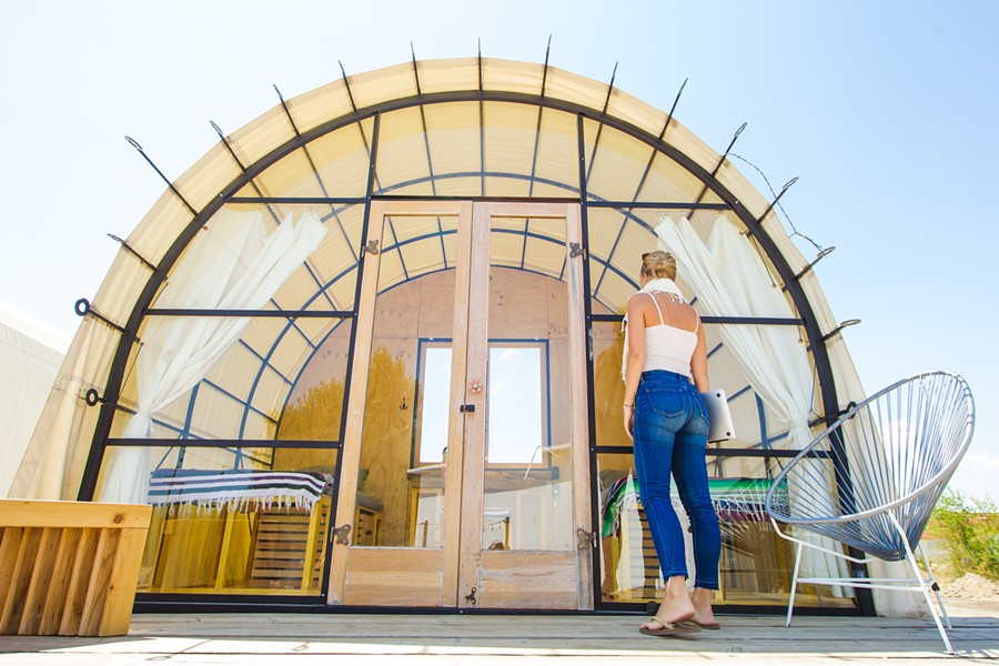 PLACE TO STAY The Blue Sky Center rents out canvas-roofed huts on Airbnb and Hipcamp to help support the nonprofit financially while also attracting tourism dollars to the small town of New Cuyama. - PHOTO BY JAYSON MELLOM