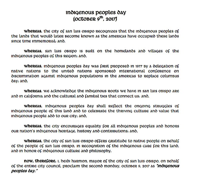 HONORING NATIVES San Luis Obispo will officially recognize Indigenous Peoples Day in place of Columbus Day beginning this Oct. 9. - IMAGE COURTESY OF CITY OF SLO