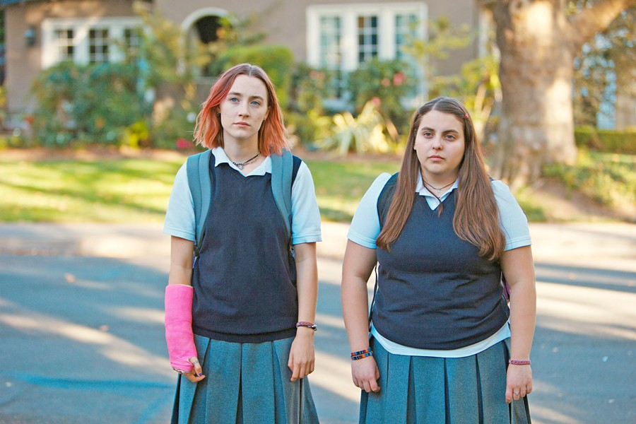 DREAMERS Besties Lady Bird (Saoirse Ronan, left) and Julie (Beanie Feldstein) dream of living in some of the fancy houses they see on their walk home from school. - PHOTO COURTESY OF SCOTT RUDIN PRODUCTIONS