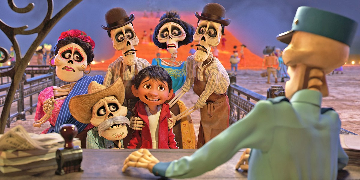 GONE BUT NOT FORGOTTEN After accidently crossing over to the Land of the Dead, Miguel (Anthony Gonzalez, center) gets help from his deceased family members to return to the land of the living. - PHOTO COURTESY OF PIXAR ANIMATION STUDIO AND WALT DISNEY PICTURES