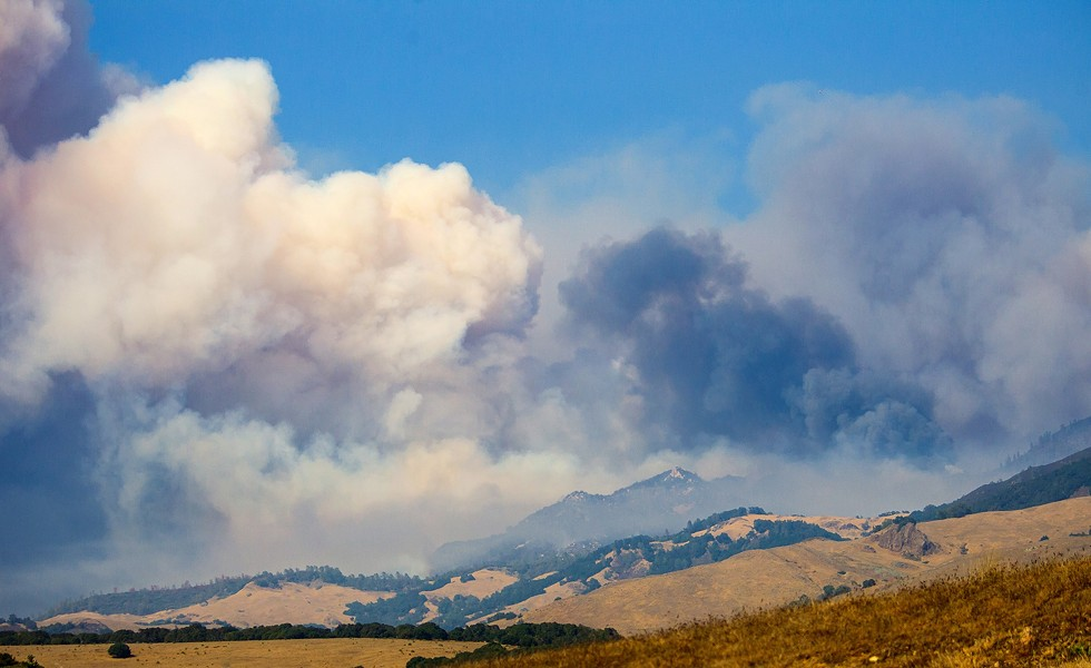 SMOKE OVER SLO Wildfires like the Chimney Fire had a major impact on SLO County's air quality in 2016, according to a recent report. - PHOTO BY JAYSON MELLOM