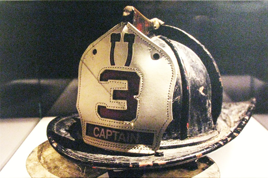 REMEMBERANCE A solitary helmet on display is symbolic of a fallen firefighter. - PHOTO COURTESY OF BECKY SILVA