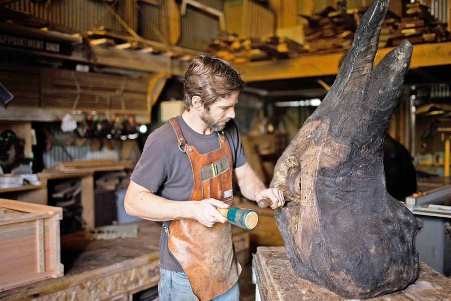CRAFTSMAN Woodworker and sculptor Ben Riddering has made furniture for the past 20 years and recently started making sculptures out of local walnut tree root balls. - PHOTOS COURTESY OF BEN RIDDERING
