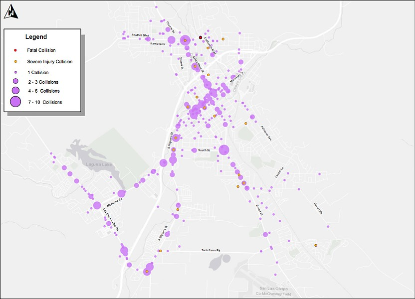 CRASH DATA San Luis Obispo's 2016 Traffic Safety Report shows that total traffic collisions in the city are at a historic low. - MAP COURTESY OF THE CITY OF SLO