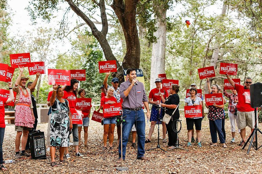 CHALLENGER Arroyo Grande resident Jimmy Paulding addresses a crowd at a 2017 Labor Day Picnic. Paulding is challenging incumbent SLO County 4th District Supervisor Lynn Compton in 2018. - PHOTO COURTESY OF THE SLO COUNTY DEMOCRATIC PARTY